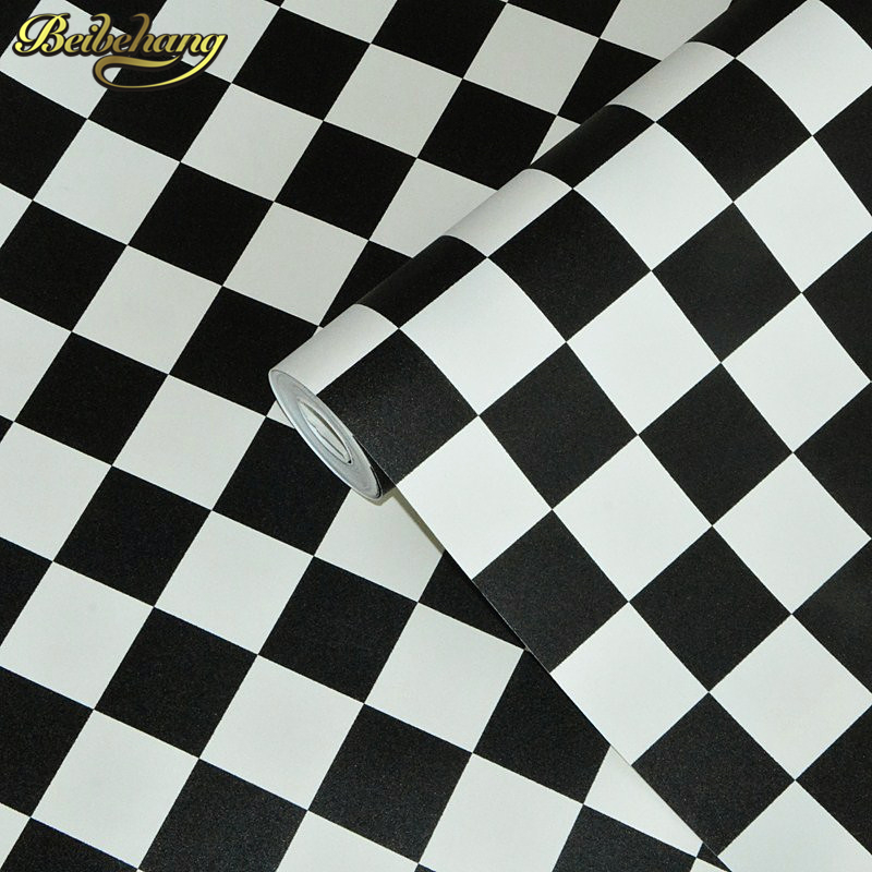 beibehang roof black white square checkered 3D wall paper salon shop clothing store restau