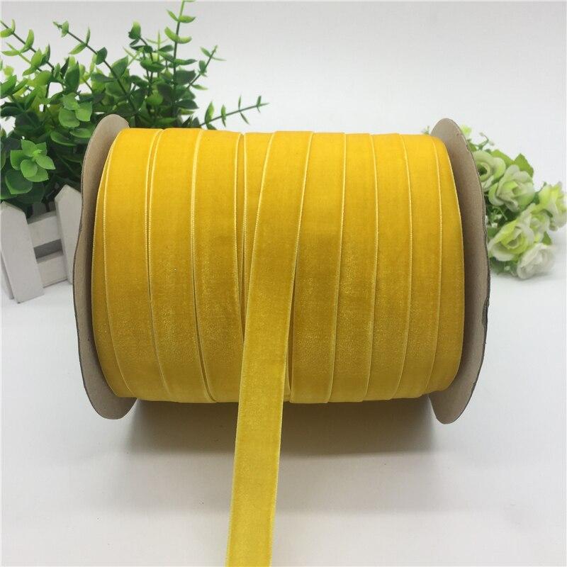 """5 ярдов 5/""""(15 мм) бархатная лента для украшения свадебной вечеринки лента ручной работы подарочная упаковка бантик для волос DIY Рождественская лента - Цвет: Yellow"""