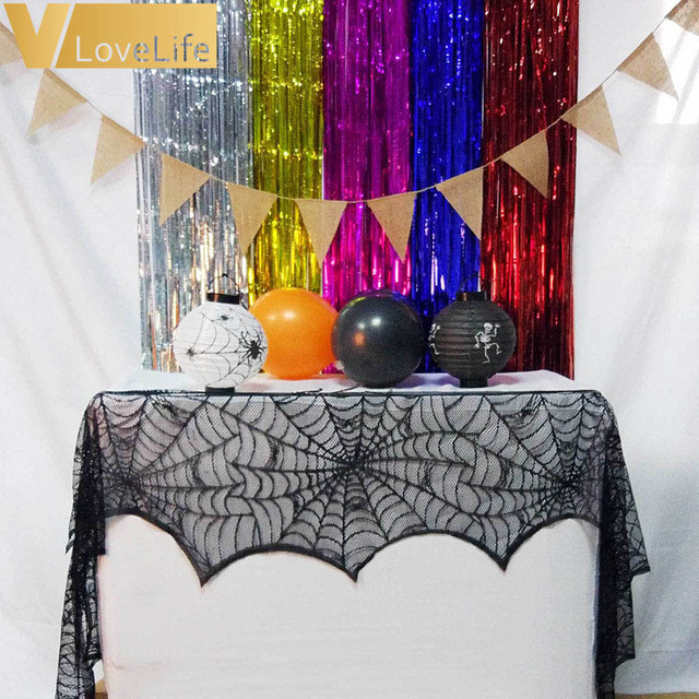 Nice Halloween Party Supplies Fireplace Mantle Scarf Cover Black Lace Spiderweb  Table Cloth For Halloween Decoration 45cm