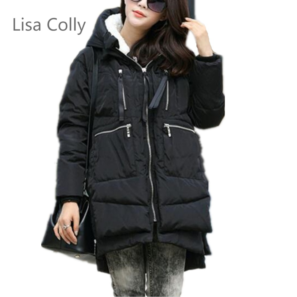 Lisa Colly Winter Jacket Coat Women Hot Style Hooded Slim Long cotton coat Women Down cotton