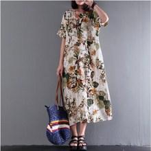 цена на 2019 Summer Women Plus Size Floral Print Dress Bohemian Short Sleeve Loose Dress Party Cotton Linen Midi Casual Dress