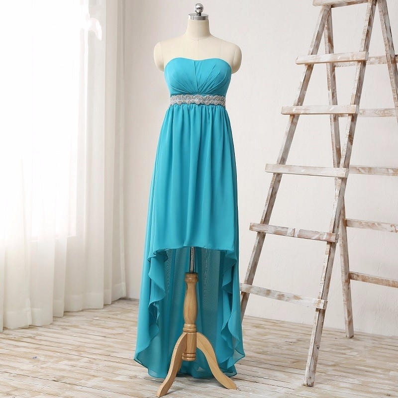 Turquoise High Low Rustic Bridesmaid Dresses 2017