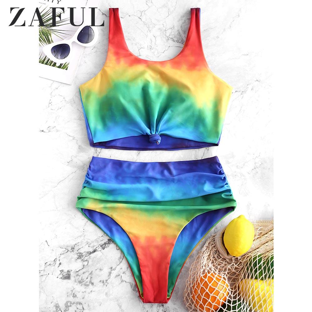 ZAFUL Tie Dye Knot High Waisted Tankini Swimsuit High Waisted Swimwear Women Push Up Bathing Suit Aesthetic Bikini Set 2019