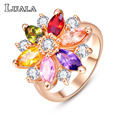 LUALA 2016 New Female Jewelry Gold Plated Wedding Ring Fashion Multicolor CZ Diamond Engagement Party Rings For Women Gift R0143