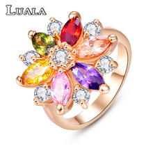 LUALA 2017 New Female Jewelry  Wedding Ring Fashion Multicolor CZ  Engagement Party Rings For Women Gift R0143