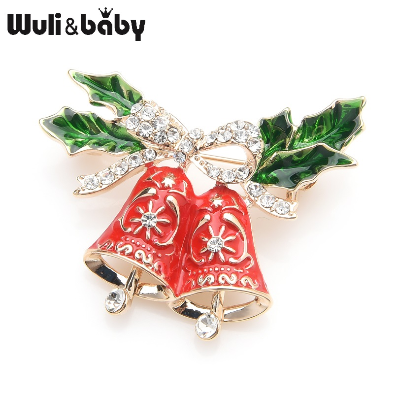 Wuli&baby Enamel Red Jungle Bell Brooches Women Men Rhinestone Christmas Brooch Pins Gifts