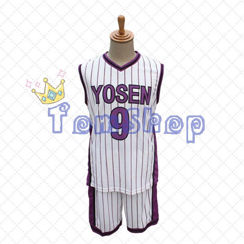 Anime Kuroko no Basuke Yosen Murasakibara Atsushi No.9 Jersey&Shorts Cosplay Costume Men's Basketball Uniform Suit Free Shipping