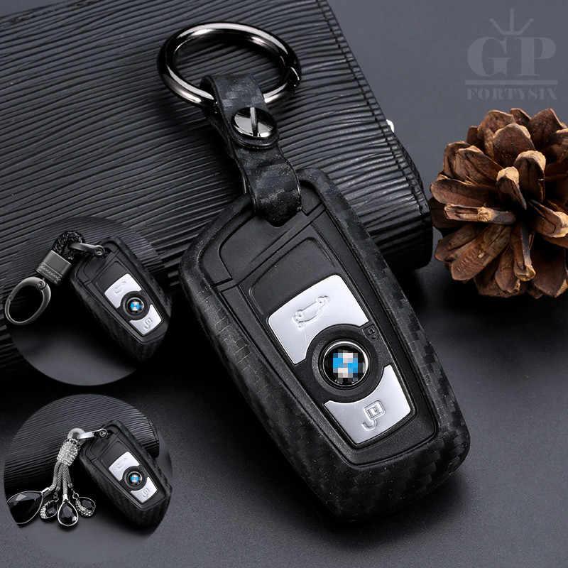 Carbon Fiber Case Kunci Mobil untuk BMW F30 F20 X1 X3 X5 X6 X7 F20 E34 E90 E60 E36 Smart-2/3 Tombol Pasang Kunci Pack Gantungan Kunci Shell