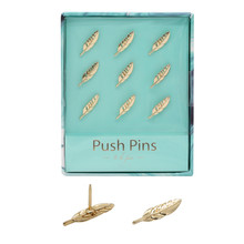 Gold Feather Shape Thumbtacks Creative Metal Push Pins for Memo Board or Cork Board, 9pcs/set Home Office Stationery Gift Set