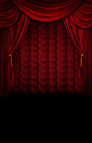 8x12ft Indoor Dark Red Curtain Drape Stage Fringes Black