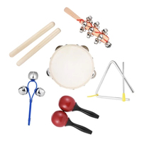 STARWAY Orff Instruments 6pcs Musical Instruments Toy Children's percussion set Sand hammer Tambourine Triangle iron Rhythm Band