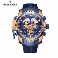 Arrecife Tigre/RT Para Hombre Reloj Deportivo de Año Mes Día Semana Calendario Acero Complicated Esfera Azul Relojes Automáticos RGA3503
