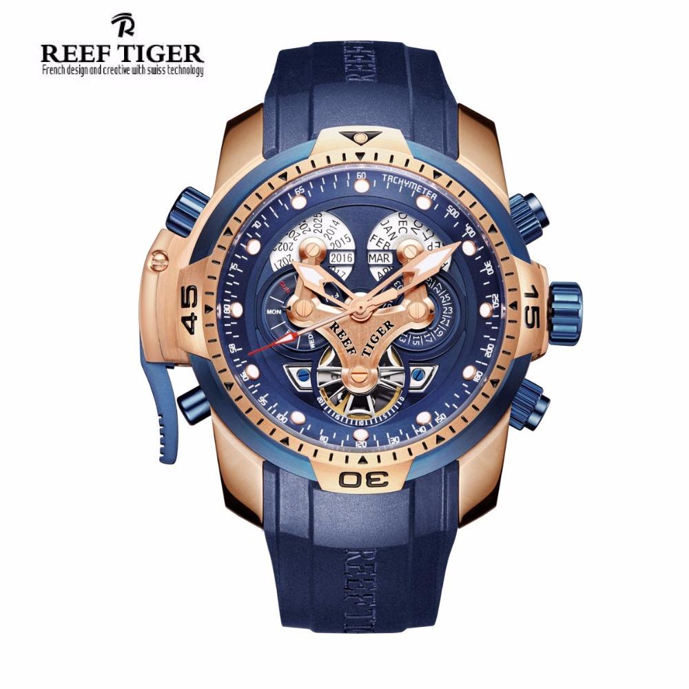 Prix pour Reef tiger/rt hommes montre de sport avec année mois semaine jour calendrier acier complicated cadran bleu automatique montres rga3503