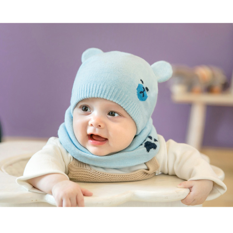 Newly Baby Winter Caps Scarf Suits Warm Knitted Beanie Cap Cute Cartoon Bear Beanie M99