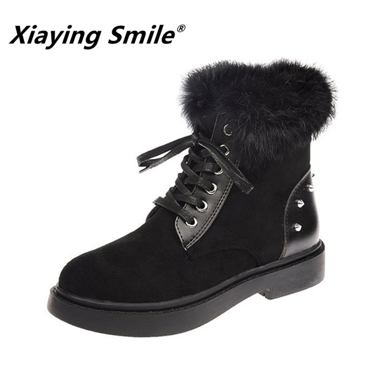 Xiaying Smile Women Ankle Boots Cold season Keep warm Cotton Fabric Short Solid Martin Boots Fashion