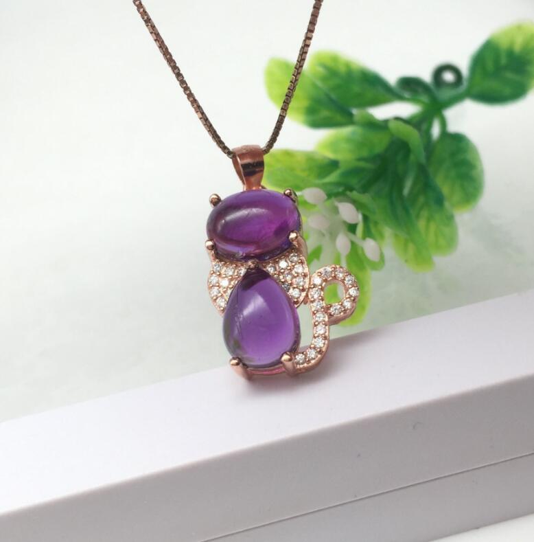 lovely Cat Style Amethyst pendant Free shipping Necklace pendant Natural amethyst pendants 925 sterling silver 6*8mm 7*9mm цена и фото