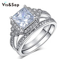 White Gold plated Ring Bridal sets big square Stone cz diamond Vintage Wedding Ring For Women fashion Jewelry Wholesale VSR162
