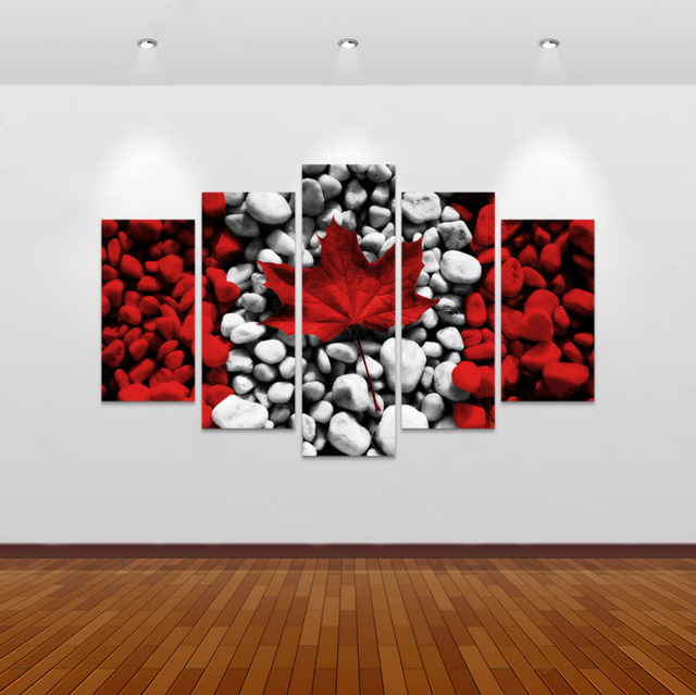 5 Piece Canvas Art New Canada Flag Wall Painting Decorations For Home Picture