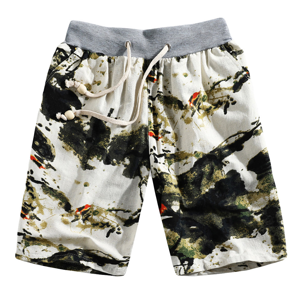 New Beach Pants Summer Men's Fashion Casual Plus Size Ethnic Style Green Printed Loose Linen Beach Shorts Pants L413A