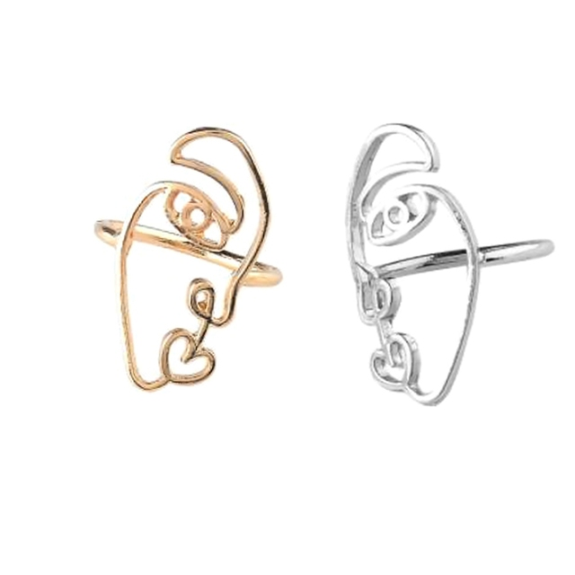 2pc/set New Ethnic Metal Hollow Human Face Rings for Women Fashion Creative Ring