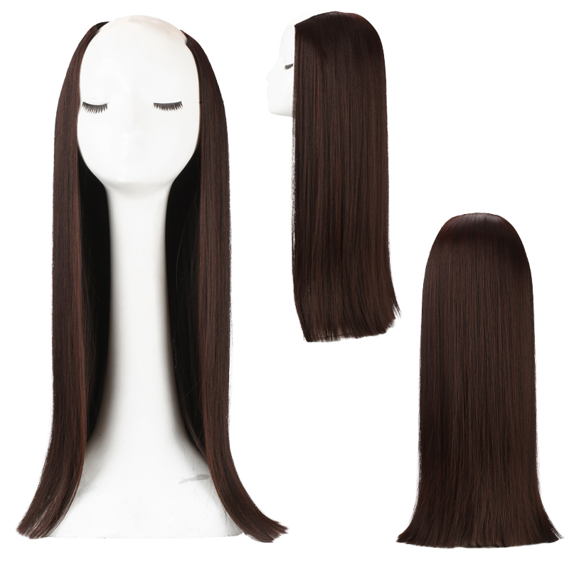 SARLA Long Straight U Part Half Wig Invisible Synthetic Wigs For Women 3 4 Head Clip in Hair Extension 24 39 39 Head Friend Fiber