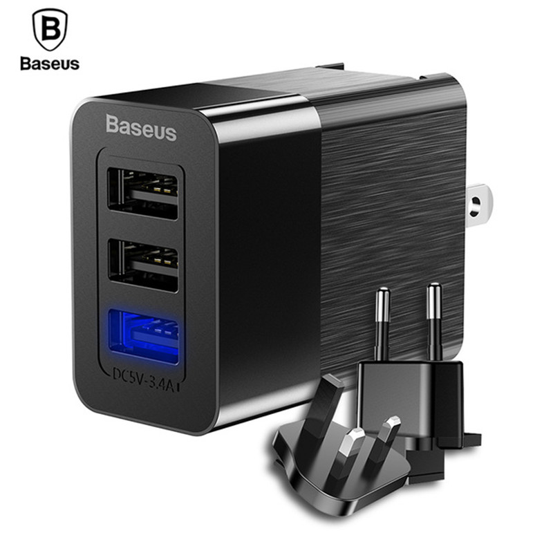 Baseus 3 Port USB Charger 3in1 Triple EU US UK Plug 2.4A Travel Wall Charger Adapter for iPhone Samsung Xiaomi Phone USB Charger