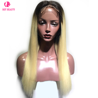Hot Beauty Hair T1B/613 Blonde Top Lace Human Hair Wigs Natural Hairline Ombre Brazilian Remy Silky Straight Wig