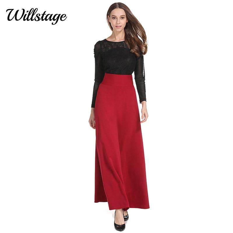 Willstage Long փեշեր Plus size 5XL Women Solid Black Red Red - Կանացի հագուստ