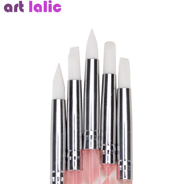 5Pcs 2 Way Nail Art Acrylic Silicone Point Flower Double Head Nail Pen Stainless Steel Dotting Tools Marbleizing Painting Pens 2