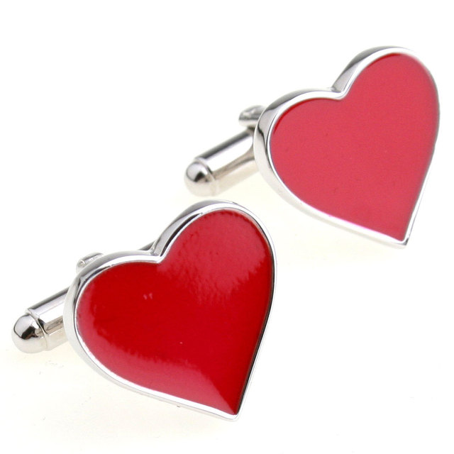Igame Wedding Cuff Links Romantic Red Heart Design Brass Material