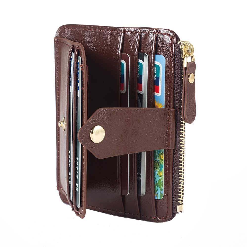 0f270fcd300 Women Male Wallet Female Coin Purse Men Oil Wax Leather 2color 5 Card  Pocket Coin Holder