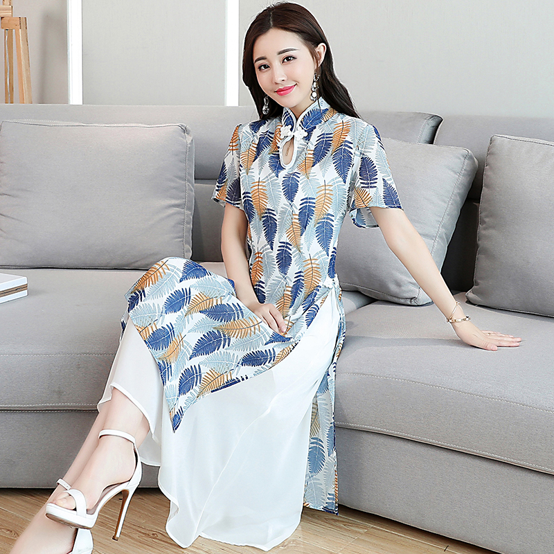 0777c5228da99 Light blue chiffon dresses xl and xxl summer dress women plus size modern  Chinese style retro elegant noble robe large clothing-in Dresses from  Women's ...
