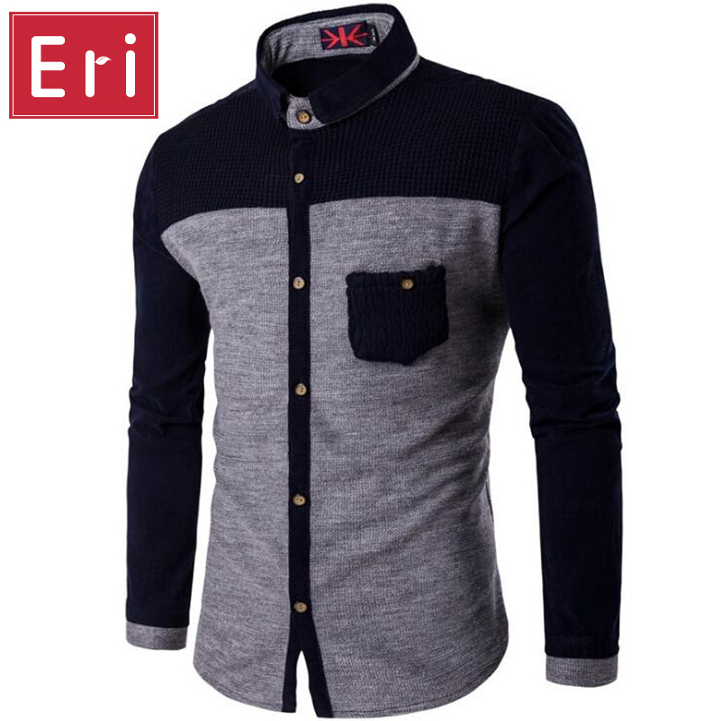 Knitted Mens Shirts Long Sleeve Cotton Polyester Parchwork