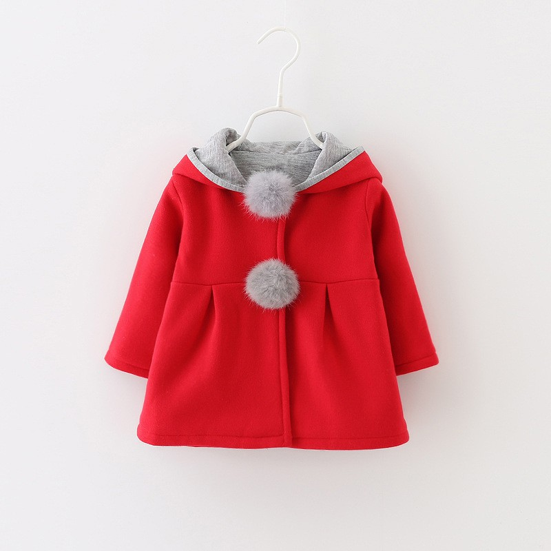 Baby Girl Winter Clothes Baby Coat Hooded Jacket Long Sleeve Fur Ball Girls Jacket Autumn Girls