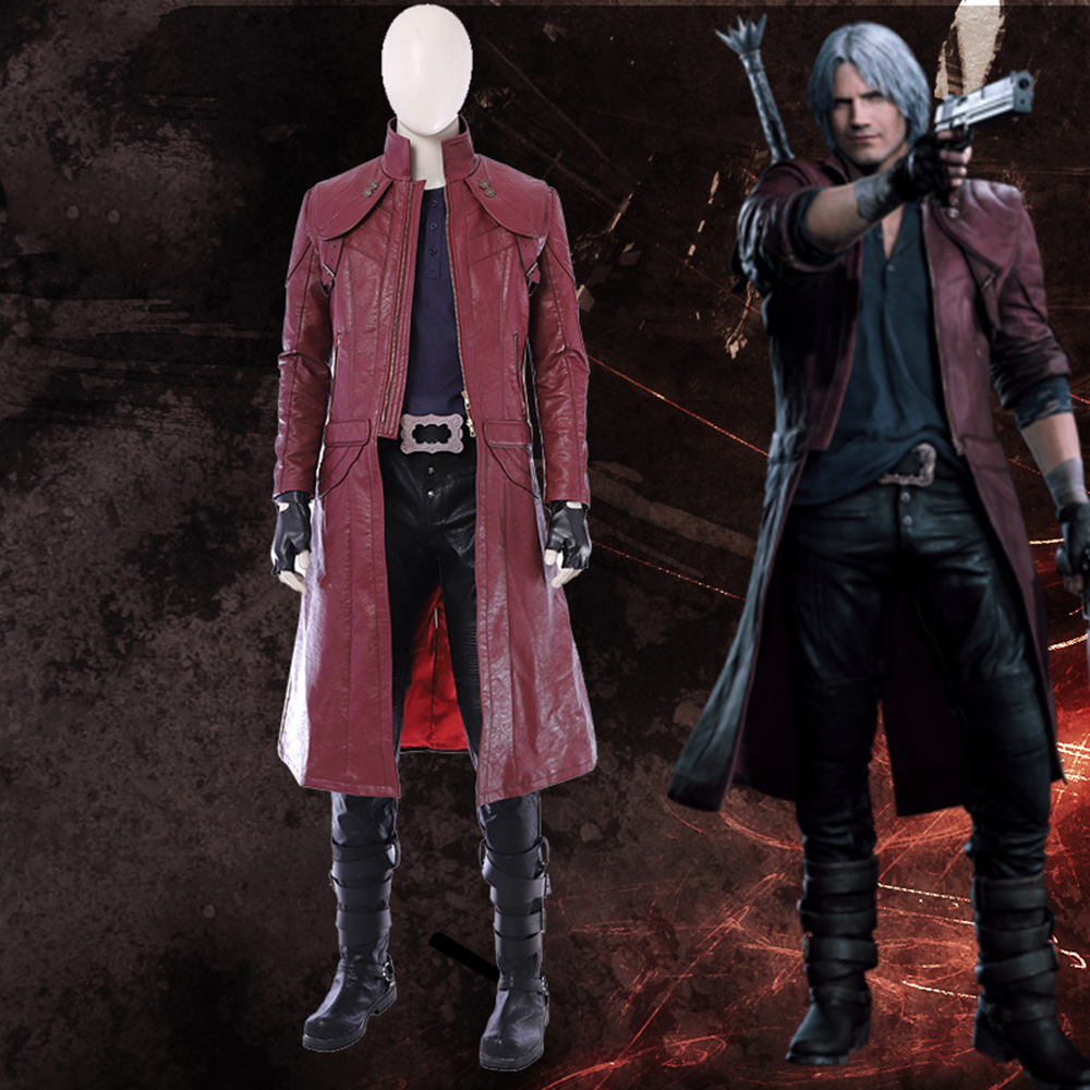 Halloween game Devil May Cry 5 cosplay Dante cosplay Costume long leather jacket boots custom made size set High Quality
