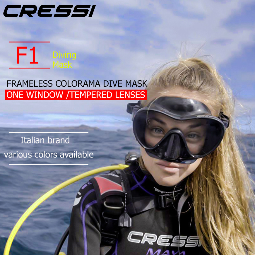 Cressi F1 Frameless Scuba Diving Mask Tempered Glass Single Lens One Window Low Volume Snorkeling Swimming
