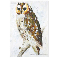 ShenZhen Hand Painted Owl Oil Painting on Canvas Paintings for Living Room Decor Impression Animals Paintings Wall Art Painting
