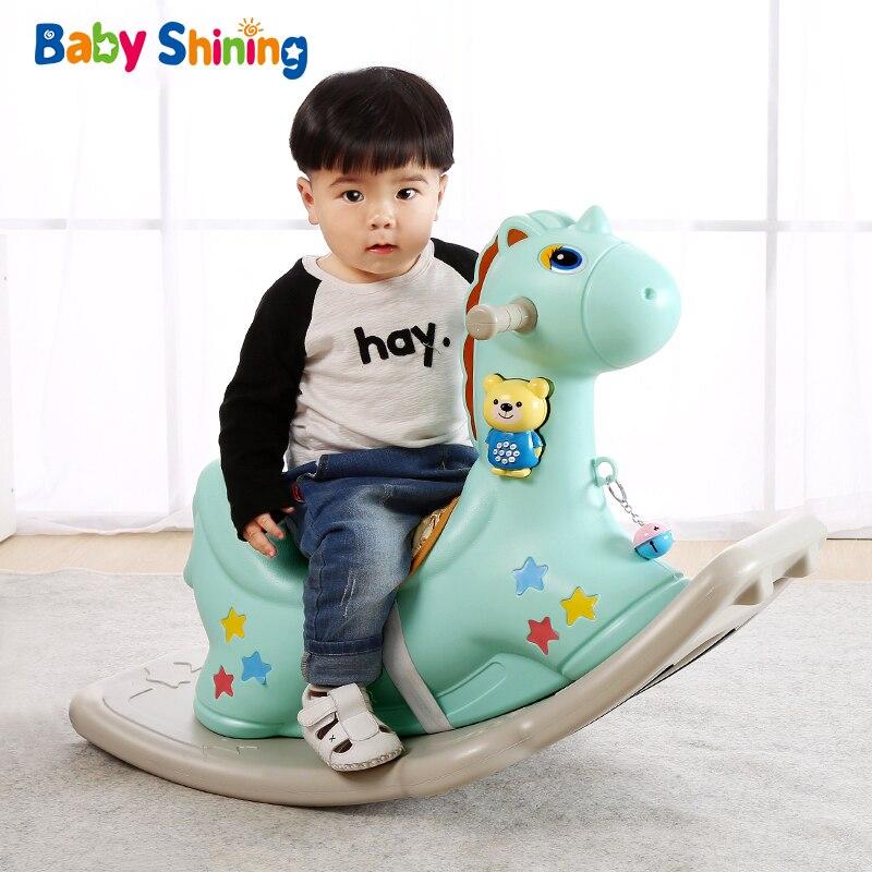 Bébé brillant enfants cheval à bascule bébé chambre Ride sur jouets jeux extérieur/intérieur pour enfants 1-6 ans chaise en plastique épais