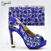 Capputine African Style PU Crystal Shoes And Bag Set Italian Summer Woman High Heels Shoes With Matching Bags For Party DF-10