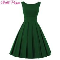 Belle Poque Vintage Dresses 50s 60s Women Summer Dress 2018 Elegant Sleeveless Green Tunic Rockabilly Retro Womens Party Dresses