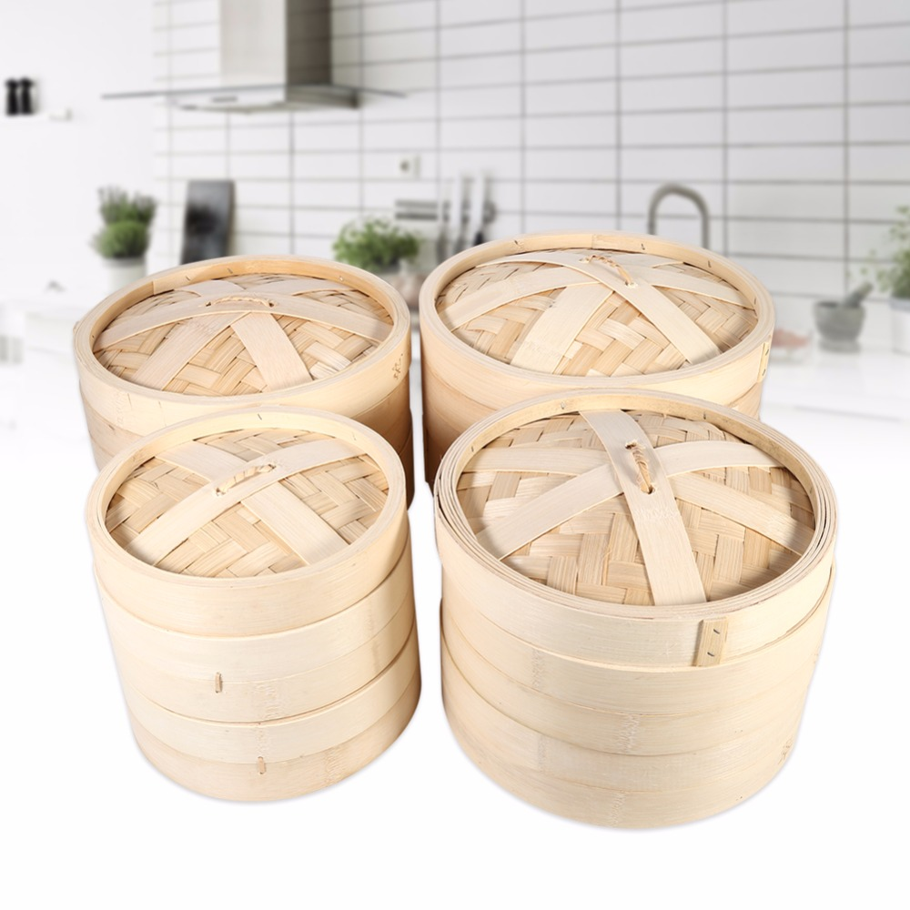4 Sizes 2 Tiers Chinese Kitchen Cookware Eco Friendly Bamboo Steamer Dim Sum Basket Rice Sum