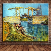 The Langlois Bridge At Arles With Women Washing Of Vincent Van Gogh 100% Hand Made Reproduction Oil Painting On Canvas Wall Art