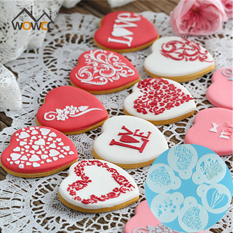 DIY Rose Cookie Stencil Cookie Stamp Cake Tool Coffee Foam Spray Template Stencils Decorating Coffee Printing Mold Barista Tools