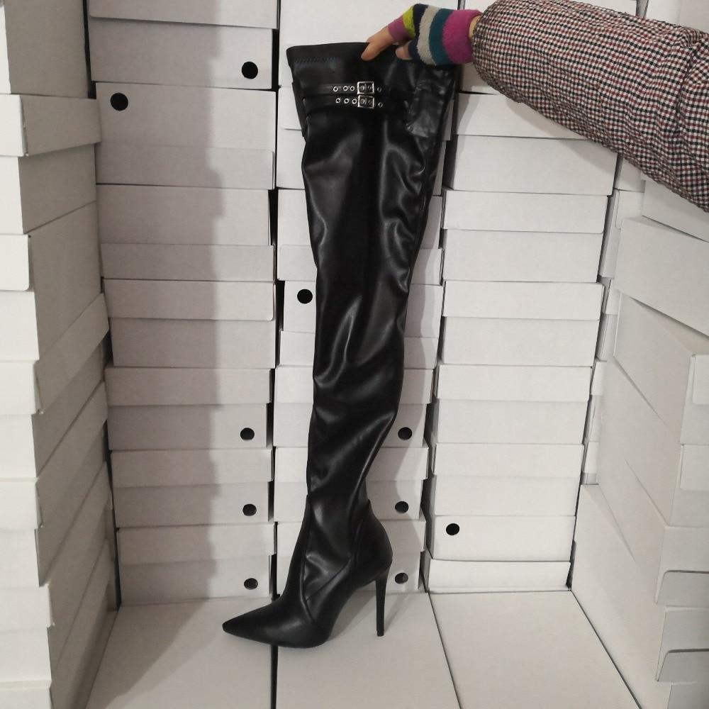 Pointu Noir Femme the Longues Robe Lady De Picture Mujer Talons Cuir Over genou En Botas As Chaussures Hauts Stiletto Piste Bout 2019 Bottes OxrIIYEqn