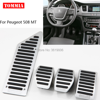 tommia For Peugeot 508 AT MT 2011-2016 Pedal Cover Fuel Gas Brake Foot Rest Housing No Drilling Car-styling