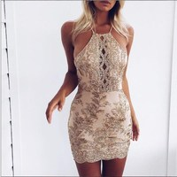 DERUILADY New 2018 Lace Embroidery Sleeveless Summer Dress Halter Package Hips Women Dresses Slim Sexy Club