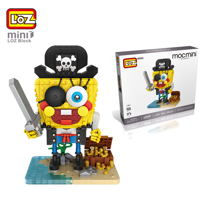 LOZ Funny Pirate Sponge Bob Building Blocks DIY Building Bricks Action Toys Figure Kids Gift Toys brinquedos educativo juguetes loz blocks diamond building blocks toys action figure the sheep 3d bricks quiz gift toy particles assembled blocks for kids