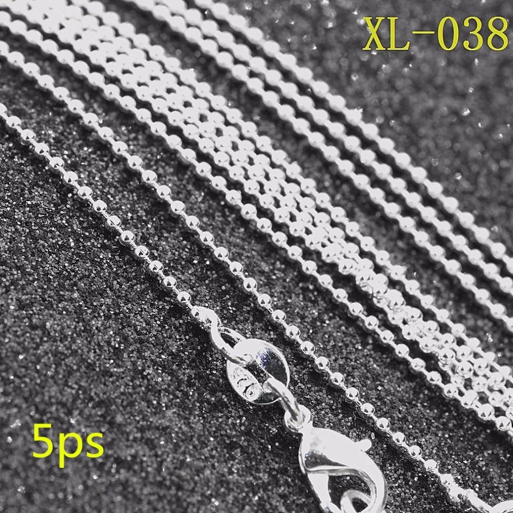 5ps / کیف عمده فروشی نقره ای 1MM BALL گردنبند زنجیره ای 18 اینچ 30 اینچ ، گردنبند زنجیر از روکش نقره ، 925 جواهرات ، جواهرات زنانه