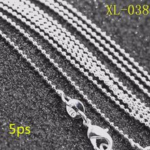 5ps/bag wholesale Silver 1MM BALL Chain necklace 18inch-30inch,silver plated chain necklace,925 jewelry,women jewelry(China)