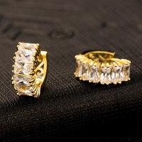 Fashion Style Women Hoop Earrings Single Row Super Flash Crystal Yellow Plated Jewelry Female Korean Jewelry Wholesale